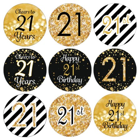 21st Birthday Party Favor Stickers | 216 Labels | Black and Gold Decoration Supplies (21st Halloween Birthday Party)