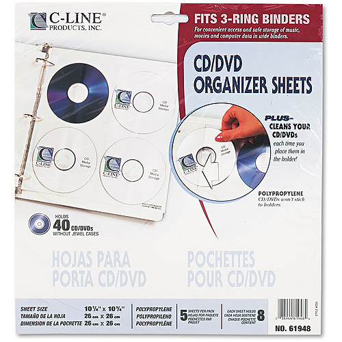 C-Line Two-Sided CD/DVD Refill Pages for Ring Binder Kit CLI-61938, 5/Pack