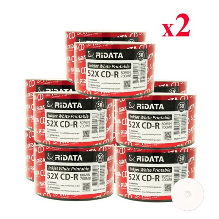 1000 Pack Ridata CD-R 52X 700MB 80Min White Inkjet Hub Printable Blank Media Recordable Disc