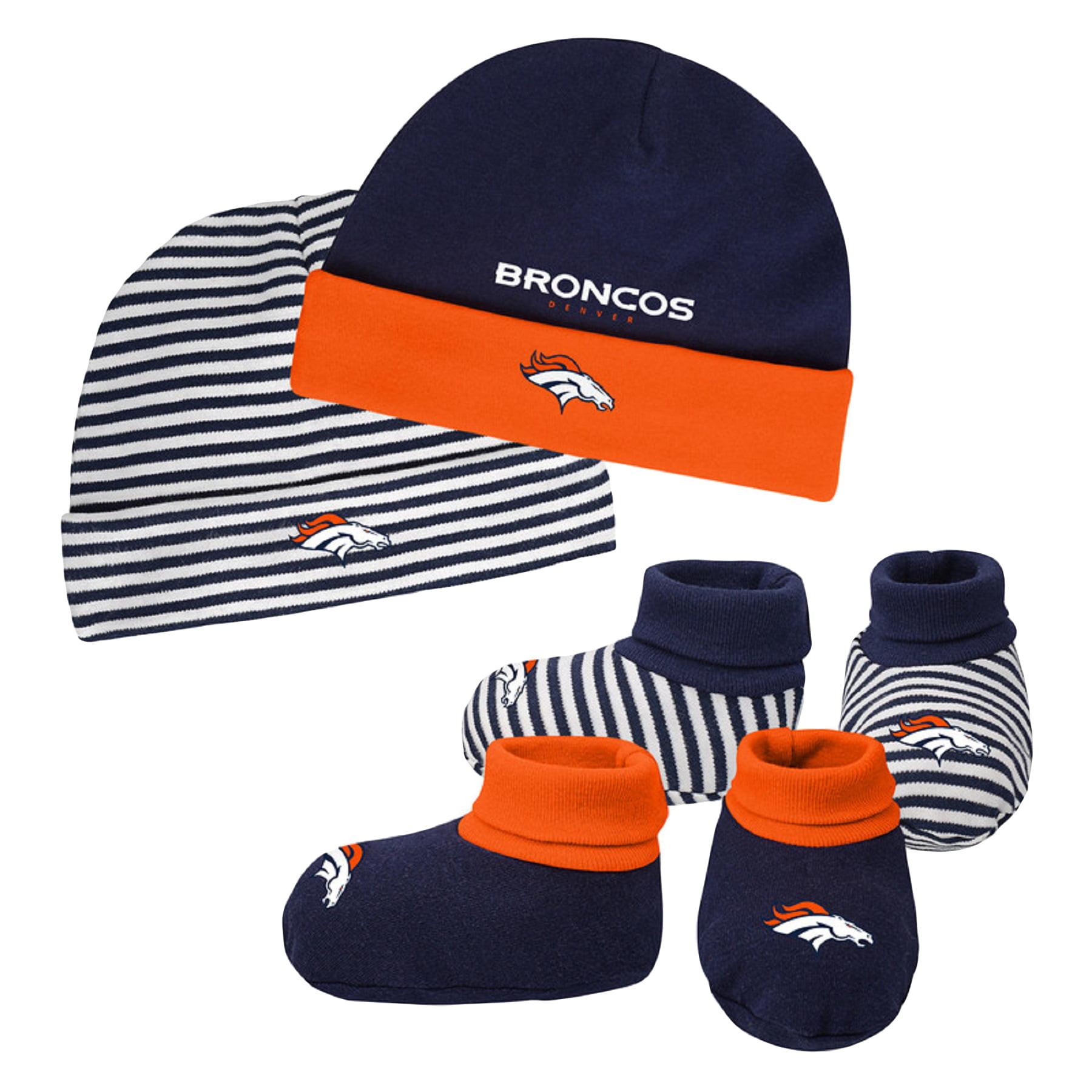 Newborn & Infant Navy/Orange Denver Broncos Cuffed Knit Hat & Booties Set - Newborn