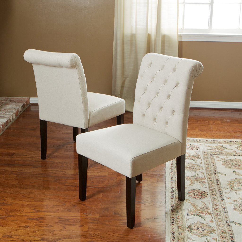 Ivory Fabric Dining Chairs (Set of 2)