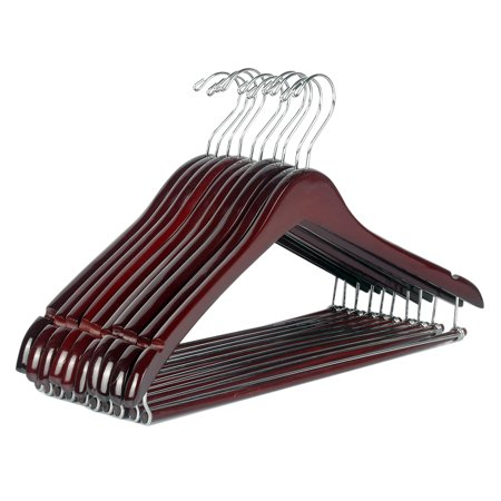 Hanger Walnut Lacquered (LOHAS Home 12-Pack Wooden Suit Hangers Beautiful Sturdy Coat Hangers with Locking Bar, Walnut Finish )