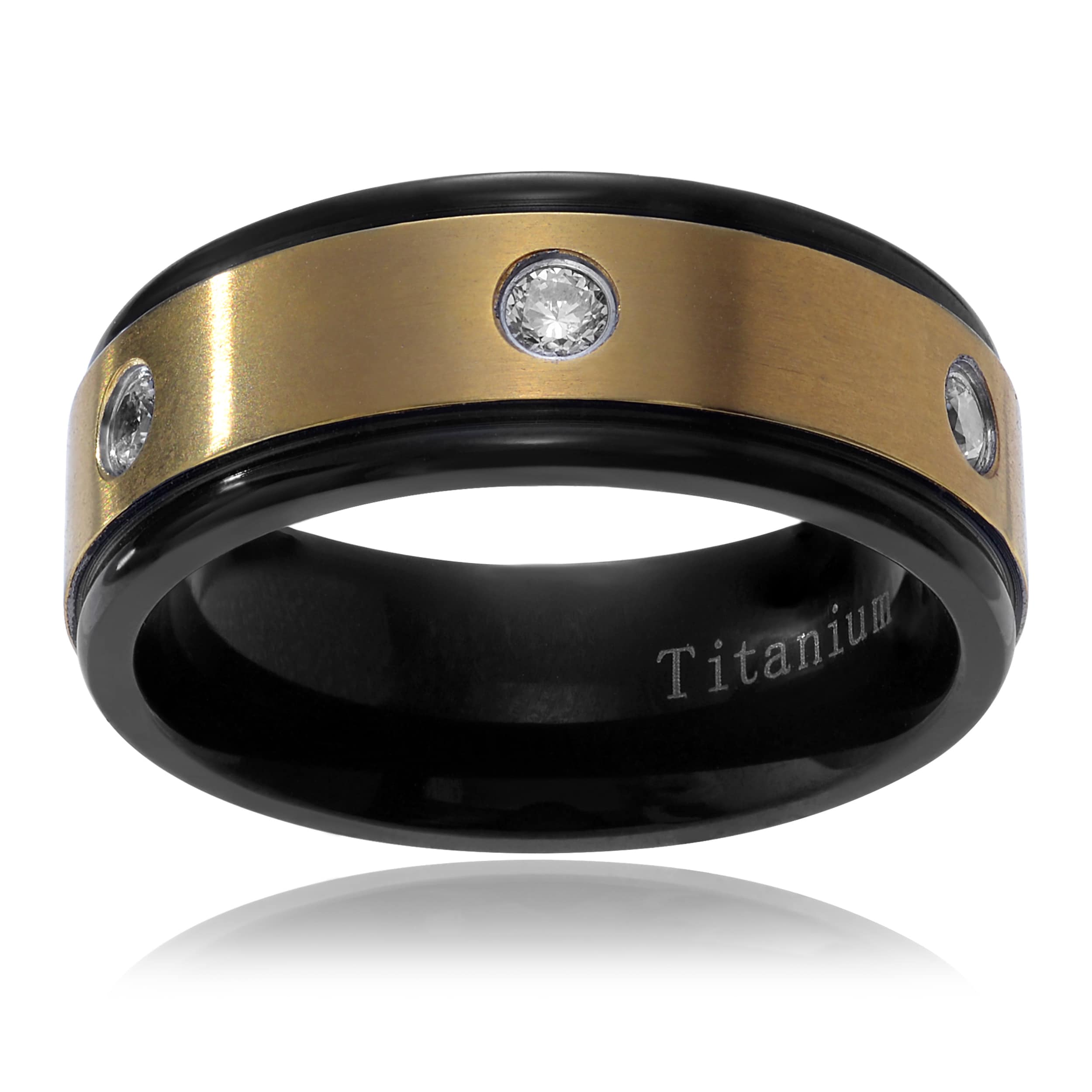 Territory Men's Ion-plated Titanium Cubic Zirconia Inlay Wedding Band (8mm) Size- 12
