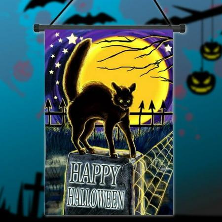12.5'' x 18'' 30x45cm Cat On Headstone Halloween Garden Flag Happy Halloween Garden Flag Trick-or-Treater for Kids Gift Home House Family Garden School Market Decoration House Flag - image 4 of 4