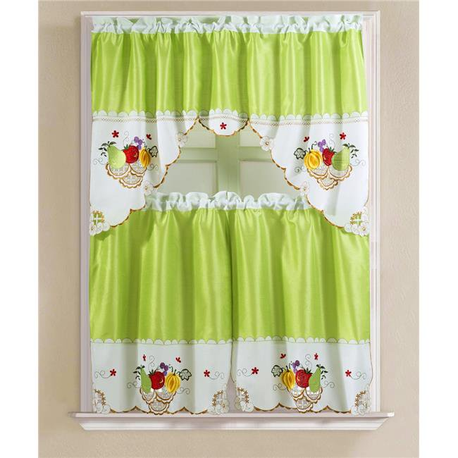 Rt Designers Collection Kcvf06780 Vintage Fruits Faux Silk Tier Swag Kitchen Curtain Set In Royal Blue Walmart Canada