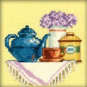 "A Cup Of Tea In The Morning Counted Cross Stitch Kit-4""X4"" 14 Count"