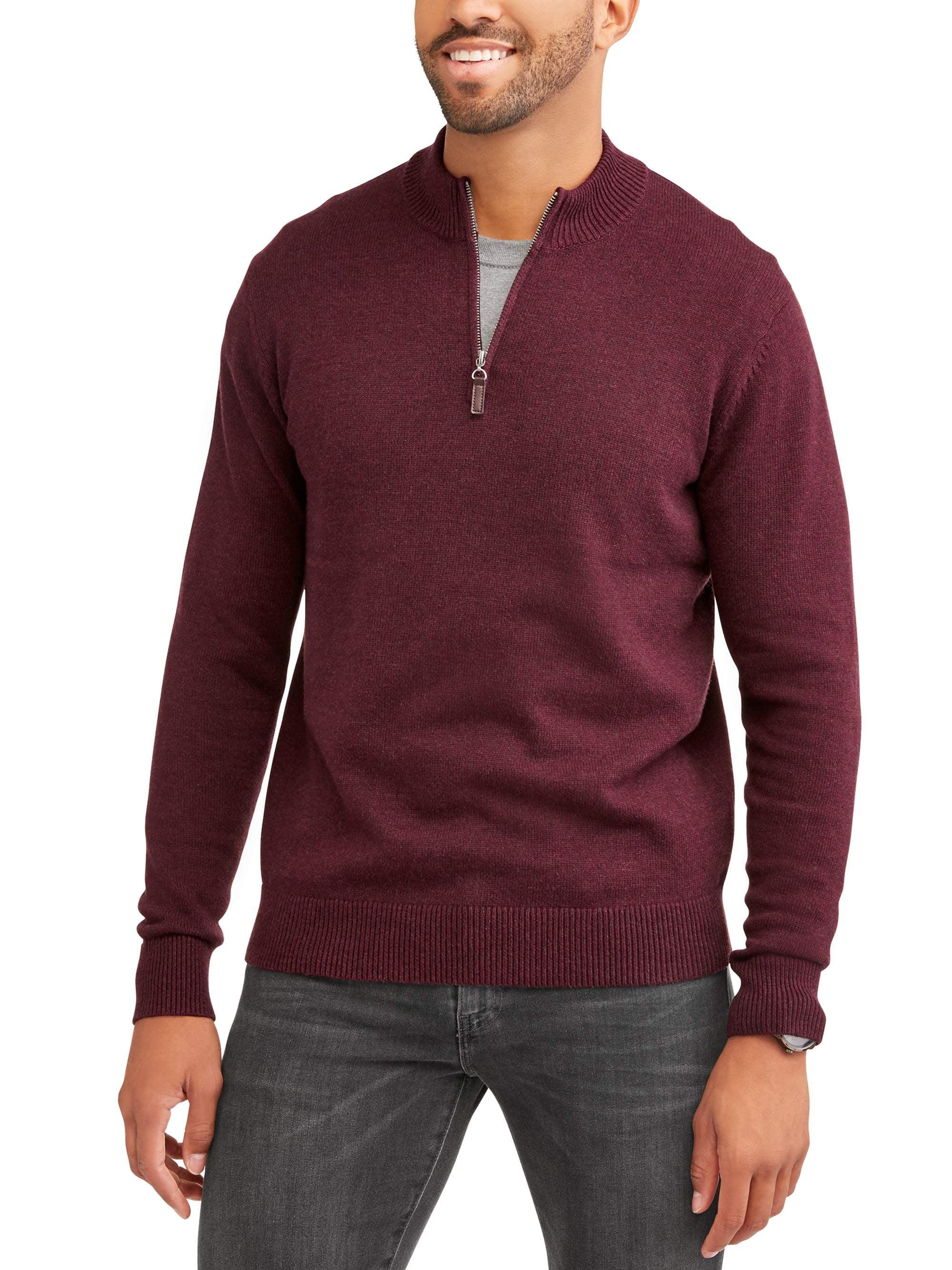 Men's Quarter Zip Sweater, Up to Size 5XL