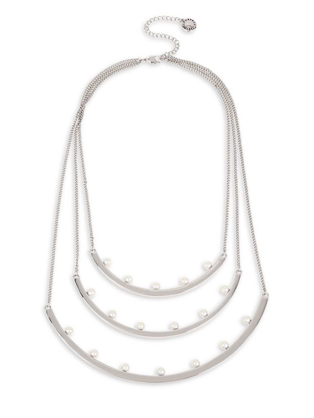 Silvertone Multi-Row Curved Bar Frontal Necklace