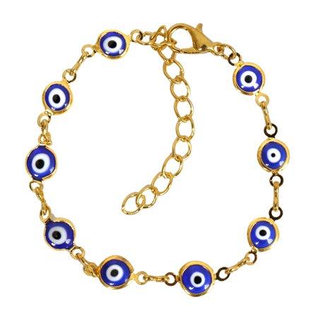 Evil Eye Protection Amulet Royal Blue Eye Beads Gold-Tone Lucky Charms Bracelet