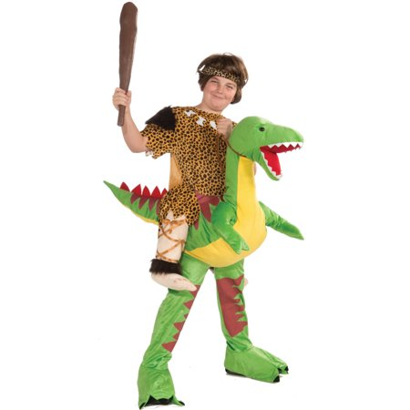 Kids Riding Dinosaur Cave Boy Stone Age Mascot Costume 1-Size Fits Most