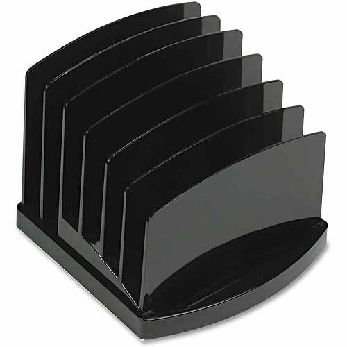 Officemate Incline Sorter, 6-Compartments, Plastic, 7.5 x 7.5 x 6.4, Black