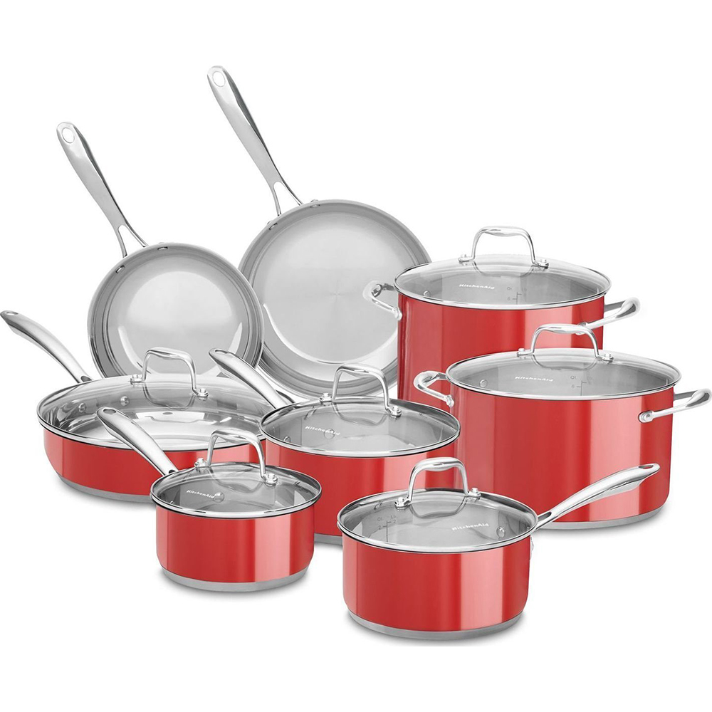 kitchenaid 4 1 2 quot red stainless steel kitchenaid stainless steel 14pc set red walmart com walmart com 753
