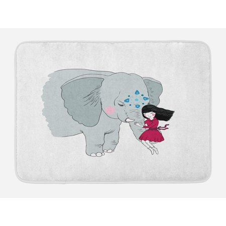 Elephant Bath Mat, Little Girl Sitting on the Trunk of an Elephant with Simple Mandala Motif in Blue, Non-Slip Plush Mat Bathroom Kitchen Laundry Room Decor, 29.5 X 17.5 Inches, Multicolor, Ambesonne - Girls Trunk