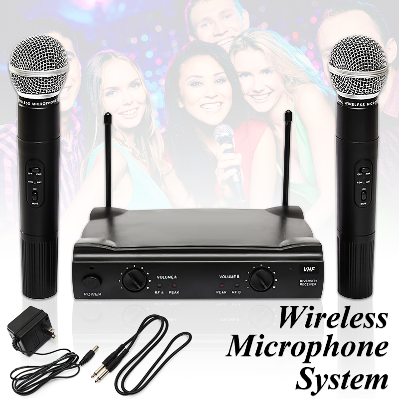 EIVOTOR Pro Dual Wireless Microphone System VHF With Handheld Cordless UT4 Type MIC Set... by