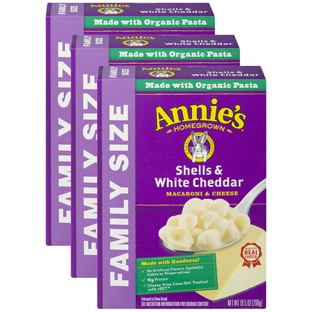 (3 Pack) Annie's Family Size Mac & Cheese Shells & White Cheddar 10.5 (Shells White Cheddar)