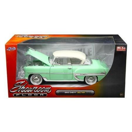 JADA 1:24 W/B - SHOWROOM FLOOR - 1953 CHEVROLET BEL AIR HARD TOP (GREEN/WHITE TOP) - MIJO EXCLUSIVES 98884-MJ Chevrolet Bel Air Hardtop