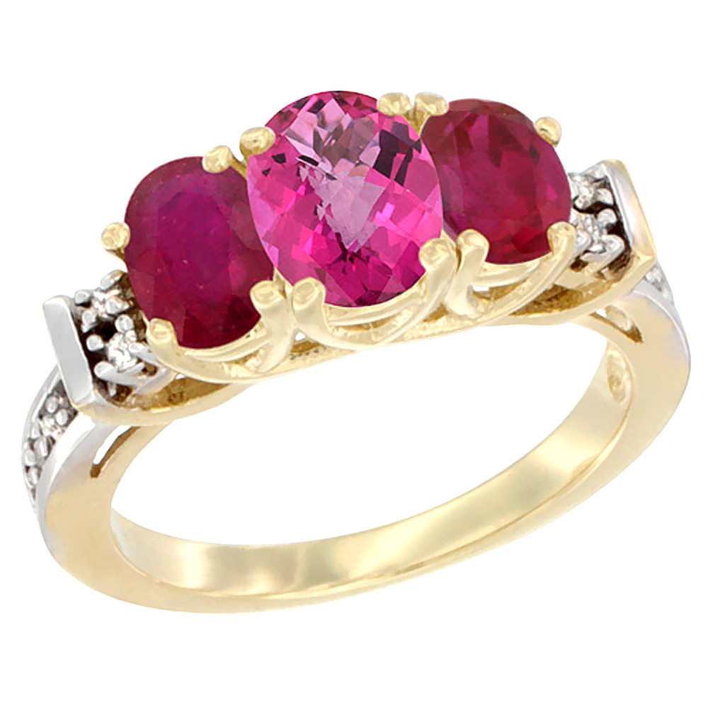10K Yellow Gold Natural Pink Topaz & Enhanced Ruby Ring 3-Stone Oval Diamond Accent by WorldJewels