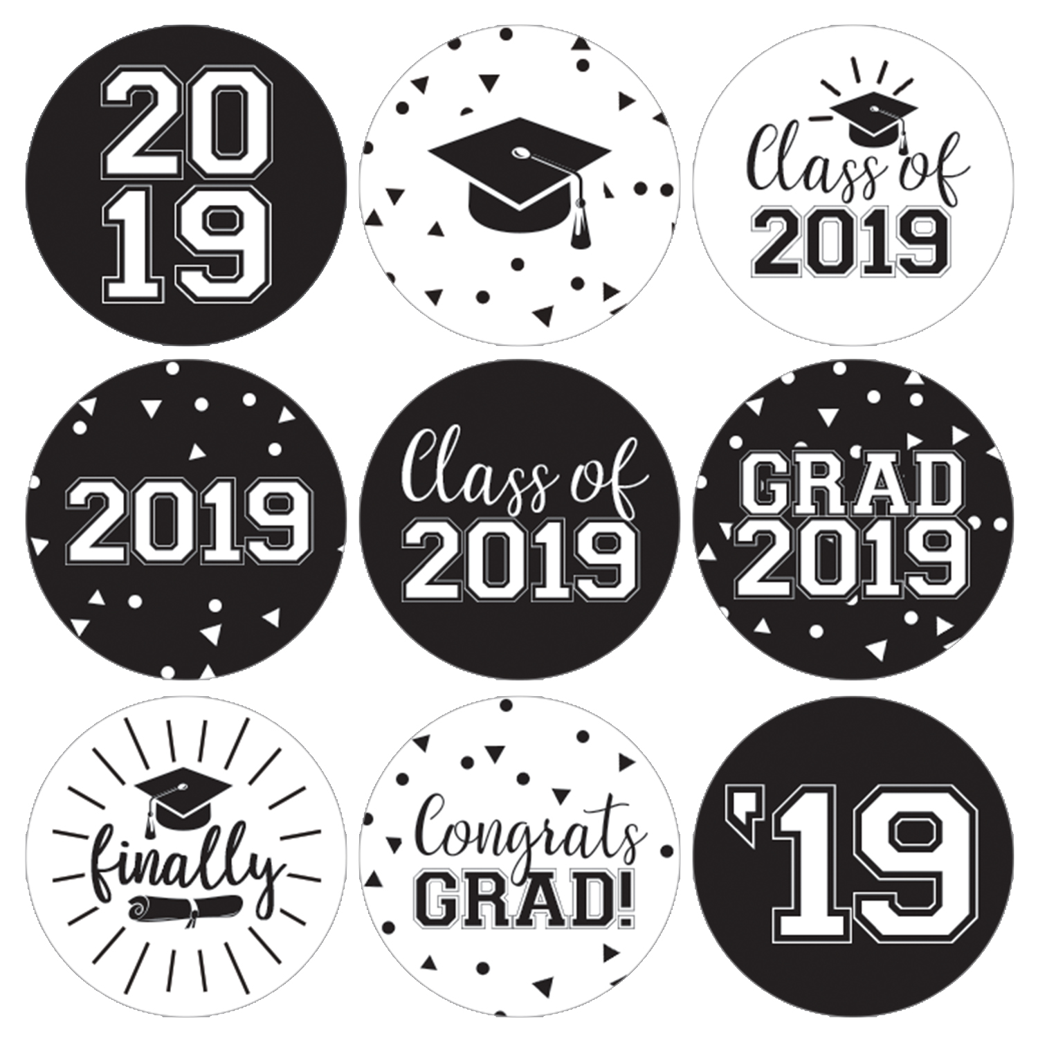 Black and white graduation party stickers 198ct class of 2019 favor labels walmart com