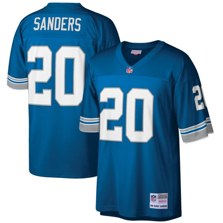 Barry Sanders Detroit Lions Mitchell & Ness Big & Tall 1996 Retired Player Replica Jersey - Blue Barry Sanders Signed Lions Replica