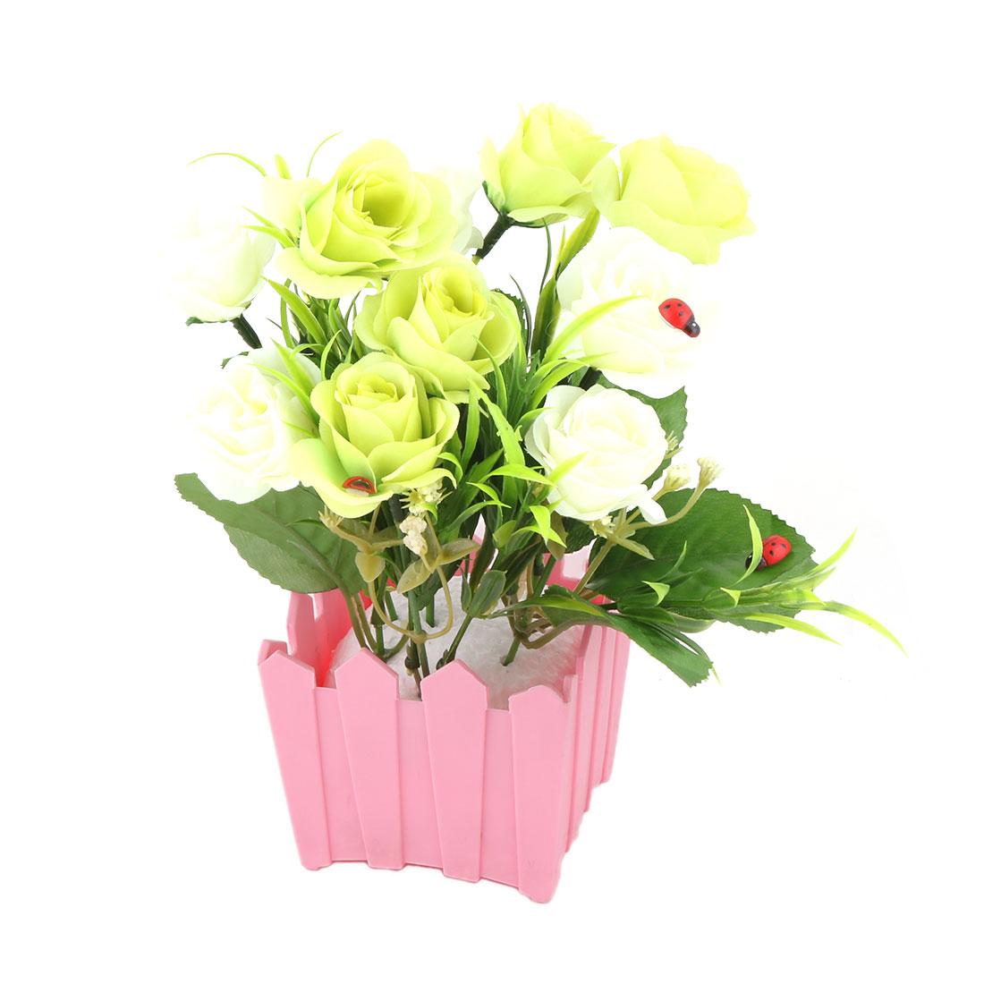 Office Plastic Flowerpot Artificial Flower Rose Bouquet Cabinet Desktop Ornament