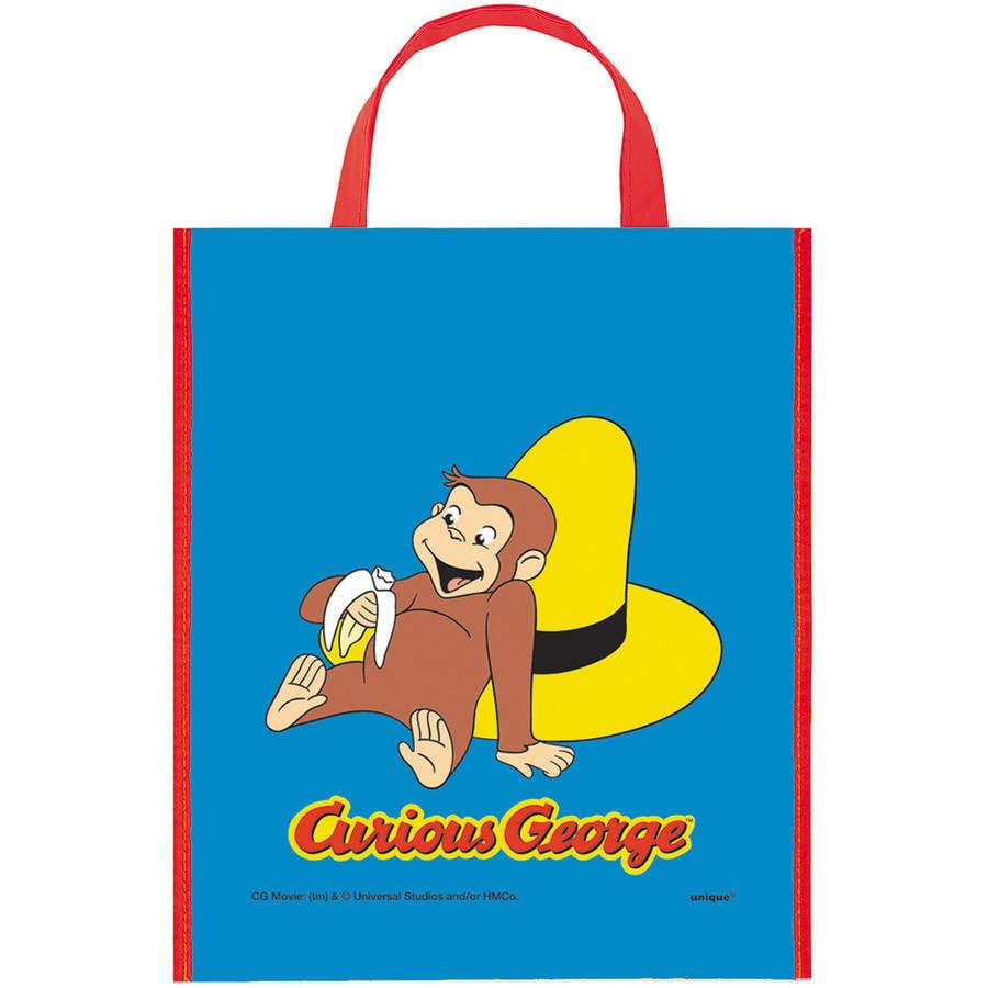 """Large Plastic Curious George Favor Bag, 13"""" x 11"""