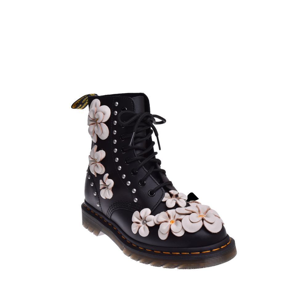 Dr. Martens 1460 Pascal Flower 8 Eye Boot Black by