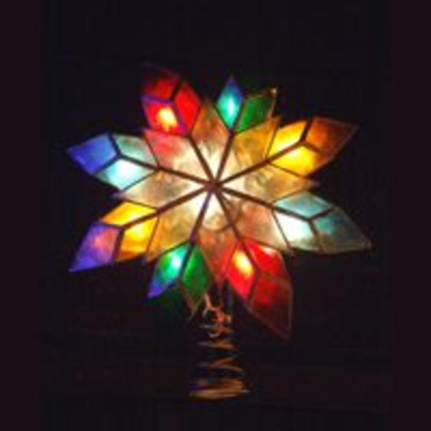 "8"" Lighted Multi-Color Capiz Shell Christmas Tree Topper - Clear Lights"