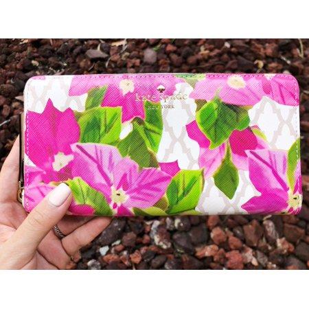 Kate spade Bayard Place Lacey Zip Around Wallet Beige Pink Floral