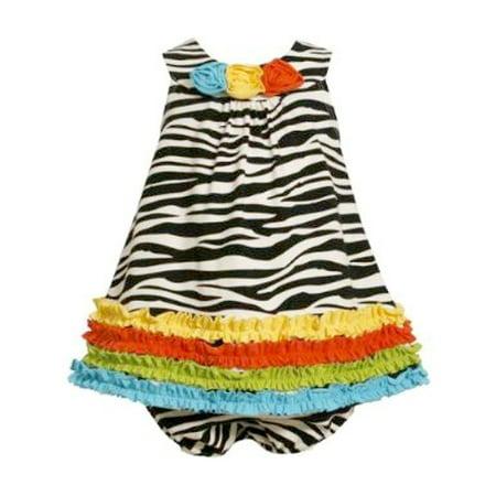 Bonnie Jean Baby Girls Zebra Knit Print Rusching Dress CLEARANCE 12 MONTHS