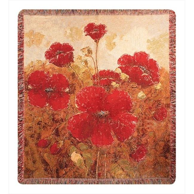 Charlotte Home Furnishings WW-5674-7929 Garden Red Poppies Afghan Throw
