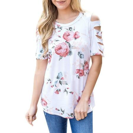 Flower Print Cut Women Short Sleeve Casual T-shirt - Floor Shift