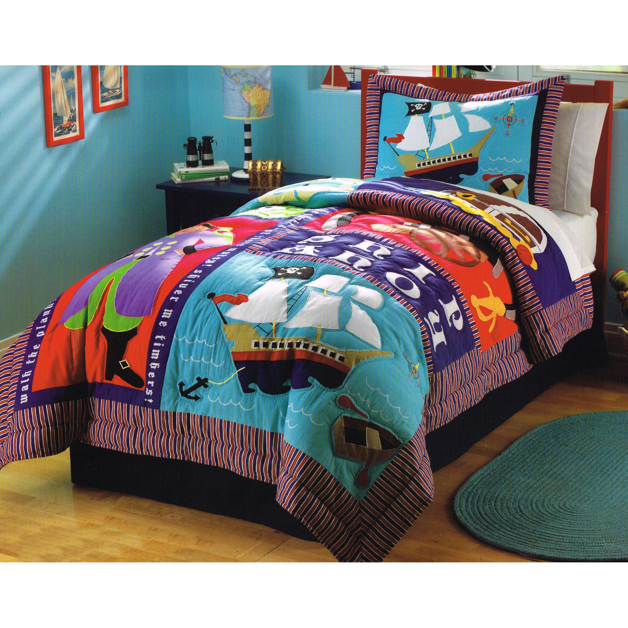 Pirate Treasure Bedding Quilt Set