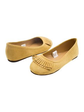 d6a45b7caf0e0 Product Image Sara Z Girls Microsuede Double Fringe Slip On Ballet Flat Tan Size  11-12
