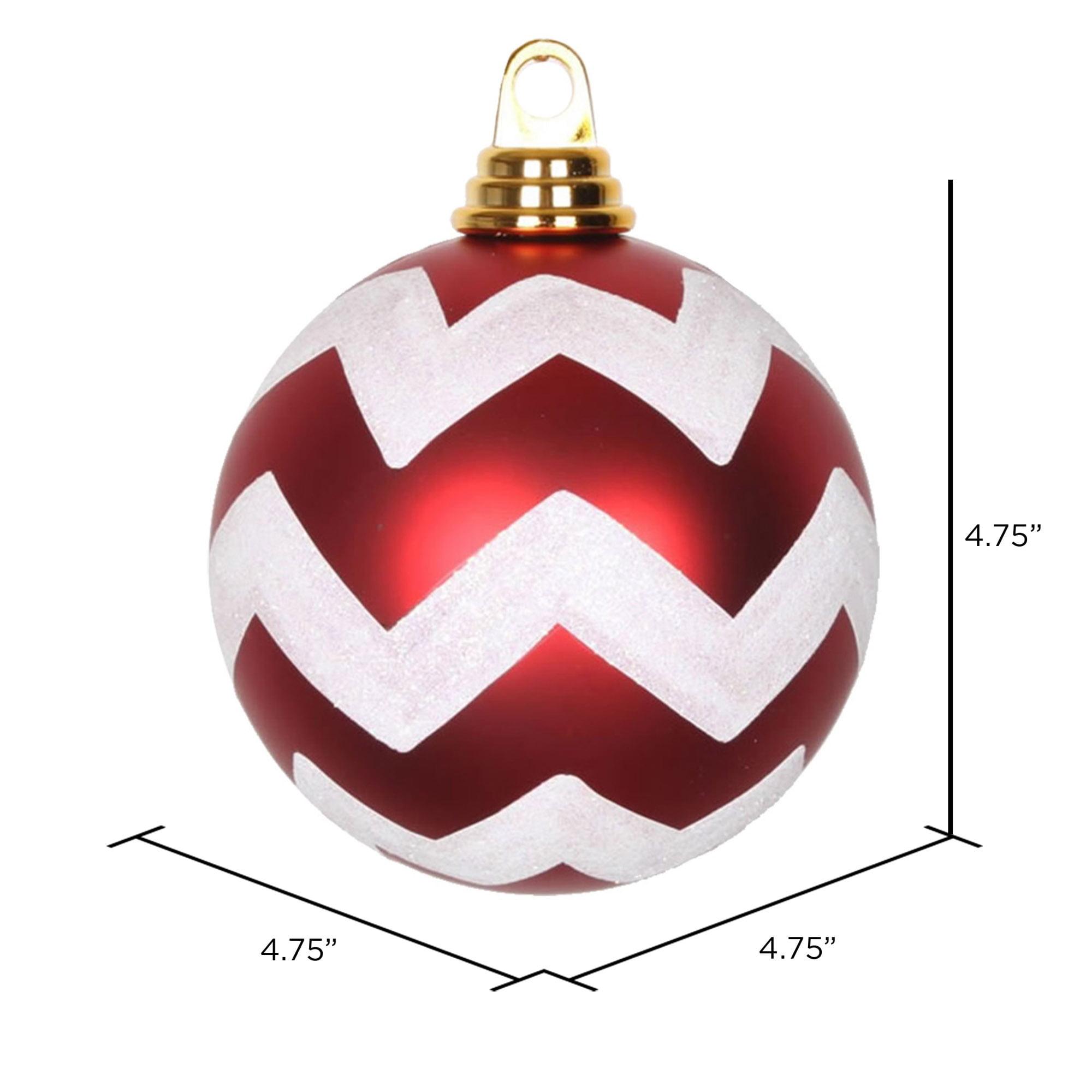 Vickerman 4 75 Matte Glitter Chevron Ball Christmas Ornaments Pack Of 3 Walmart Com Walmart Com