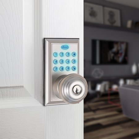 Clevr Electronic Keyless Entry Door Lock Nickel Ansi Certificated