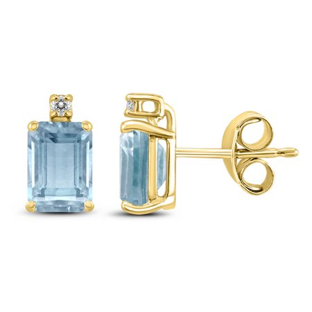 14K Yellow Gold 5x3MM Emerald Shaped Aquamarine and Diamond Earrings Shaped Aquamarine Earrings