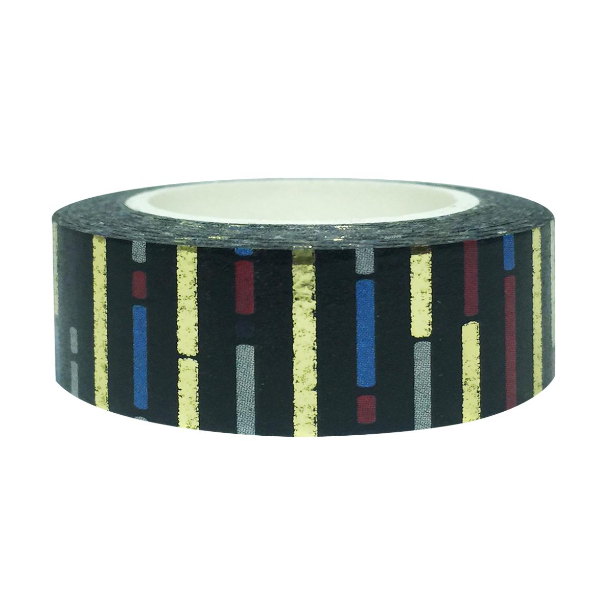 Wrapables® Colorful Washi Masking Tape, Blackout Short Bars