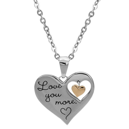 Stainless Steel Lock Pendant - Stainless Steel I Love You More Dangle Heart Pendant, 18