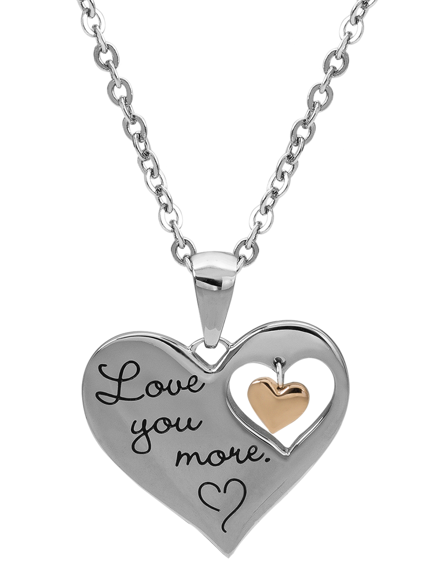 "Connections from Hallmark Stainless Steel ""I Love You More"" Dangle Heart Pendant, 18"""