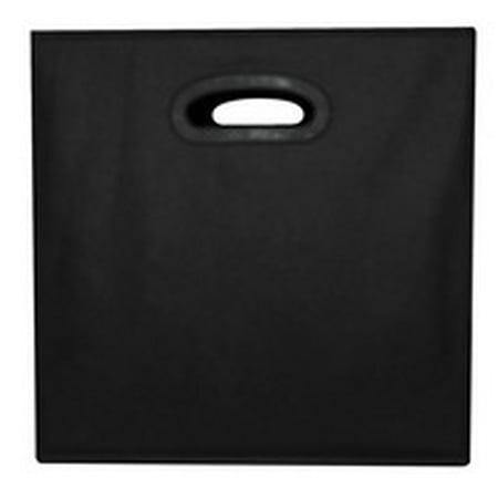 School Smart Collapsible Storage Bin with Oval Grommet, Fabric, Black (Black Storage Bins)