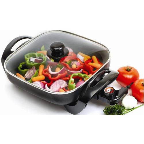 Maxi Matic Elite Gourme;12 x 12 Electric Skillet with Glass Lid