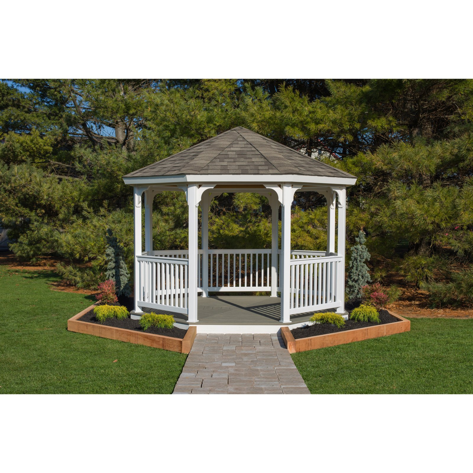 YardCraft 12 ft. Vinyl Octagon Gazebo - no floor