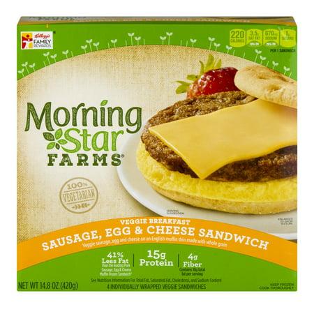 Kelloggs Morning Star Farms Sausage Egg Cheese Sandwich Veggie