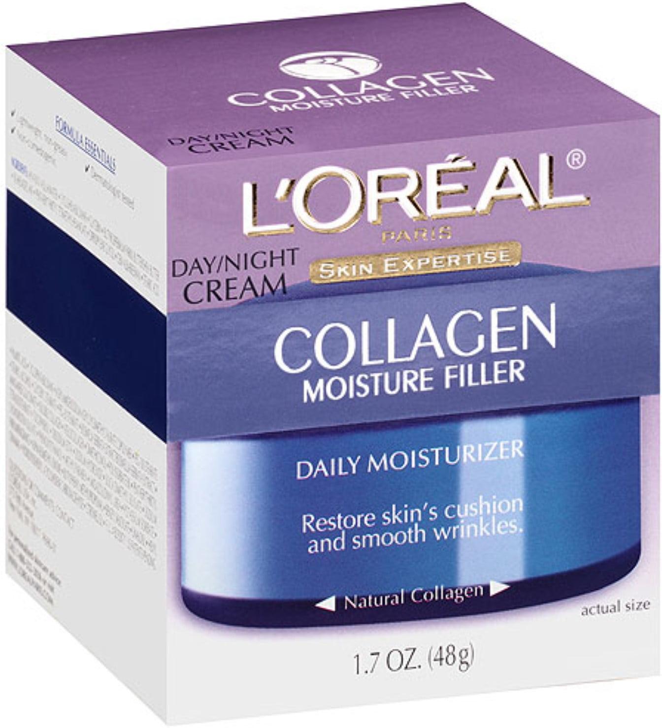 L'Oreal Paris Skin Expertise Collagen Moisture Filler Daily Moisturizer Day/Night Cream 1.7 oz (Pack of 3)