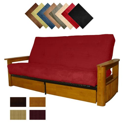 Columbus Microfiber Suede Inner Spring Queen-size Futon Sofa Bed Sleeper Walnut Finish - Ebony Black