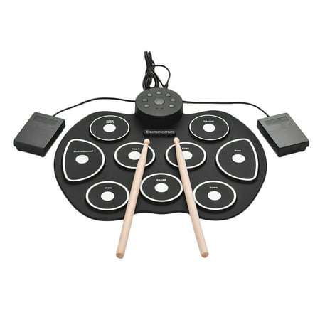 Compact Size USB Roll-Up Silicon Drum Set Digital Electronic Drum Kit 9 Drum Pads with Drumsticks Foot Pedals for Beginners Children Kids ()