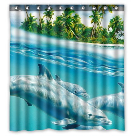 YKCG Underwater Dolphins Family Funny Sea Animals Shower Curtain Waterproof Fabric Bathroom Shower Curtain 66x72 inches