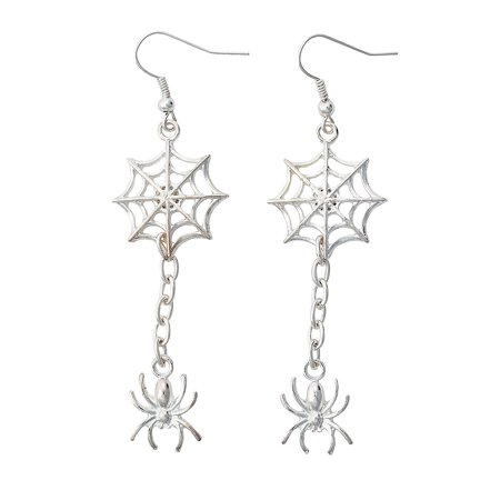 Spider Crafts For Halloween (Fun Express - Silver Spider And Spider Web Earring ck for Halloween - Craft Kits - Adult Jewelry Craft Kits - Adult Earring - Halloween - 6)