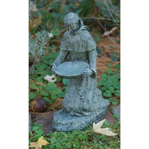 Ladybug Garden Decor Kneeling St. Frances Statue