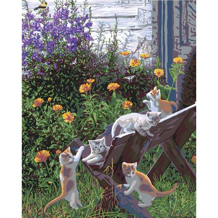 Plaid Garden Kittens Linen Cat Canvas DIY Paint by Number Kit Home Decor